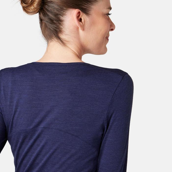 T-shirt Manches Longues Sport Pilates Gym Douce Femme Laine Bleu Foncé