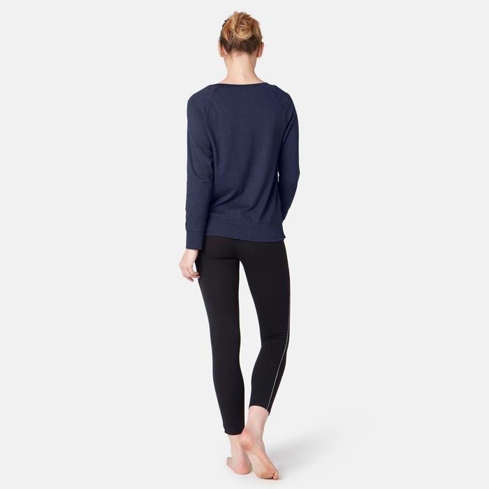 Langarmshirt 500 Pilates sanfte Gymnastik Damen marineblau mit Print