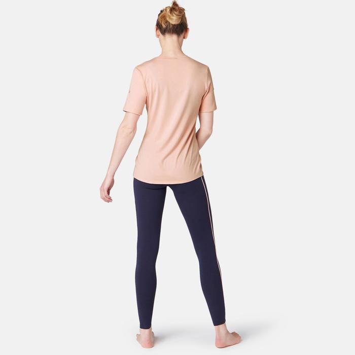 T-shirt voor pilates/lichte gym dames 500 regular fit roze met print