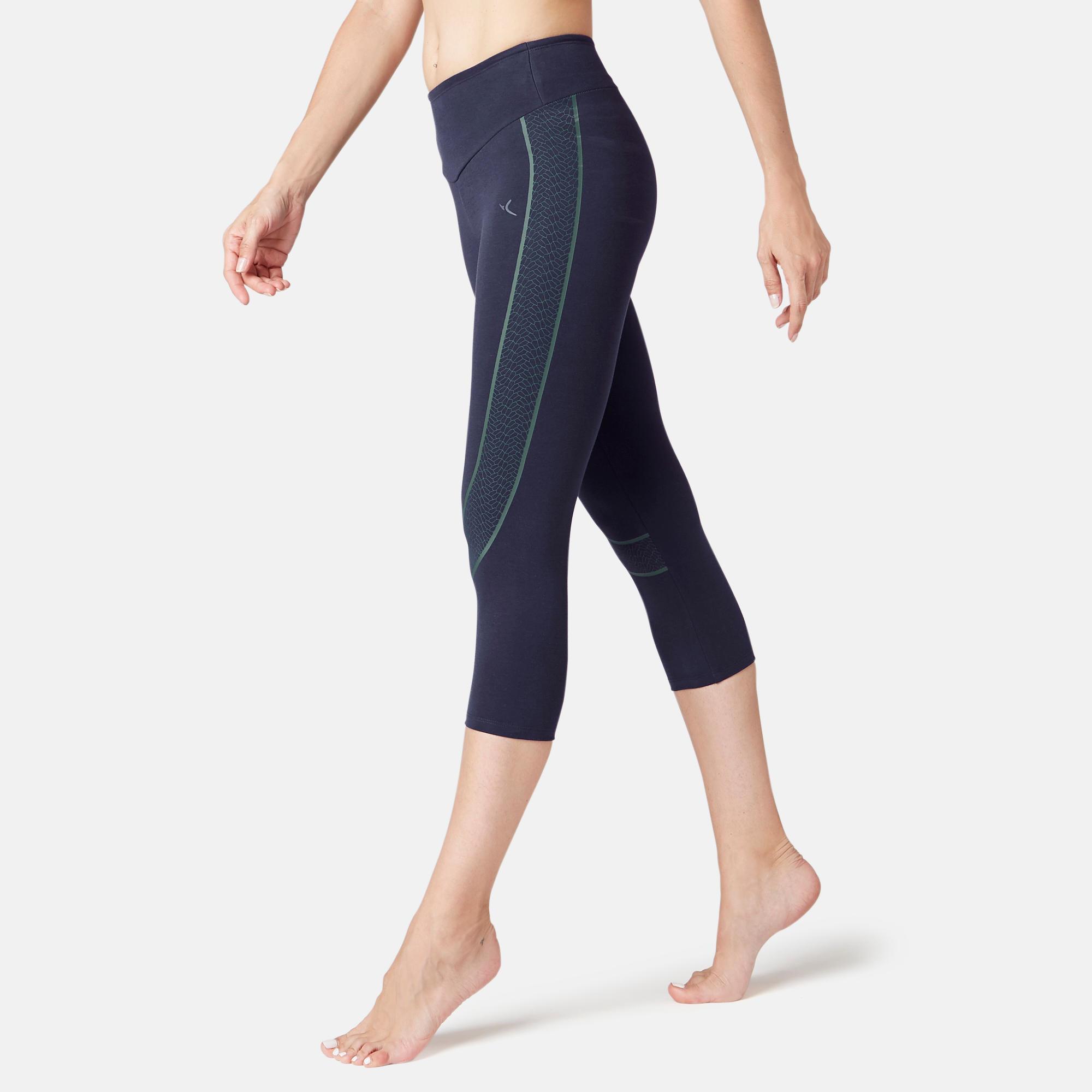 7/8-Hose 560 Slim Pilates sanfte Gymnastik Damen marineblau | Bekleidung > Hosen > 7/8-Hosen | Blau | Domyos