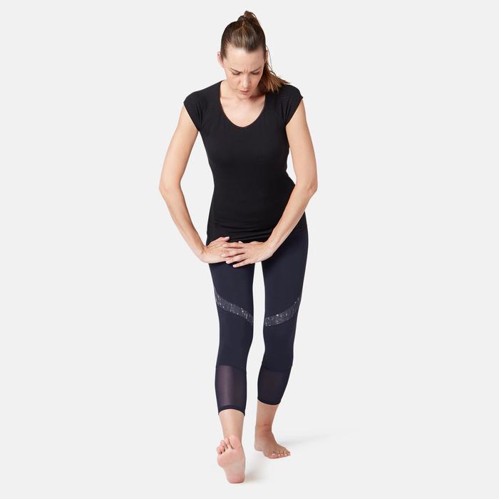 Women's High-Waisted Short 7/8 Cotton Sport Leggings 520 - Navy Blue
