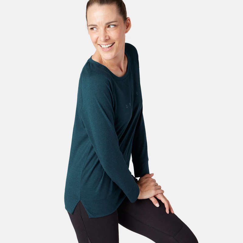 T-SHIRT, LEGGINGS, SHORT DONNA Ginnastica, Pilates - T-shirt donna gym 500 blu DOMYOS - Sport