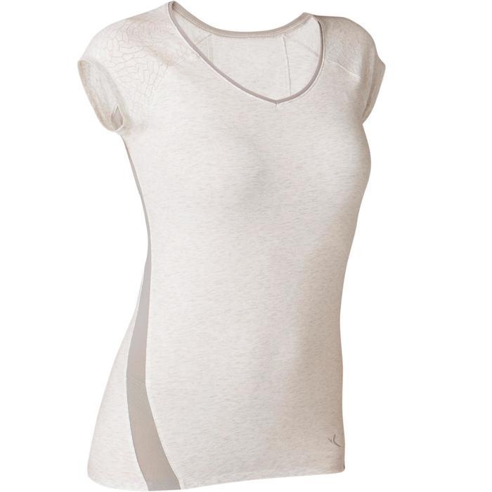 T-Shirt 530 Dévoré-Muster Pilates sanfte Gymnastik Damen weißmeliert