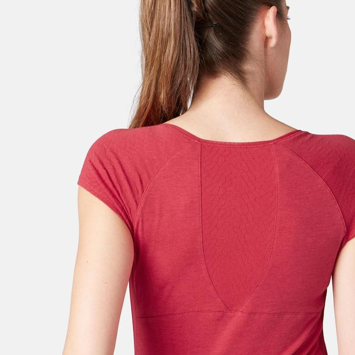 T-Shirt 530 Dévoré-Muster Pilates sanfte Gymnastik Damen rot