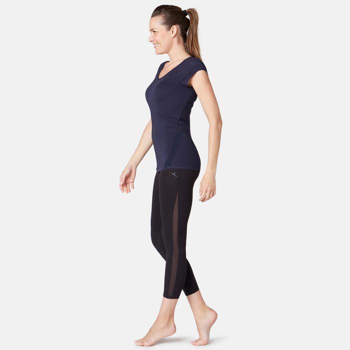 T-Shirt 530 Dévoré-Muster Pilates sanfte Gymnastik Damen marineblaumeliert