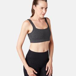 Sujetador-top Pilates Gimnasia suave mujer gris oscuro jaspeado