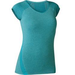 T-Shirt 530 Dévoré-Muster Pilates sanfte Gymnastik Damen türkismeliert