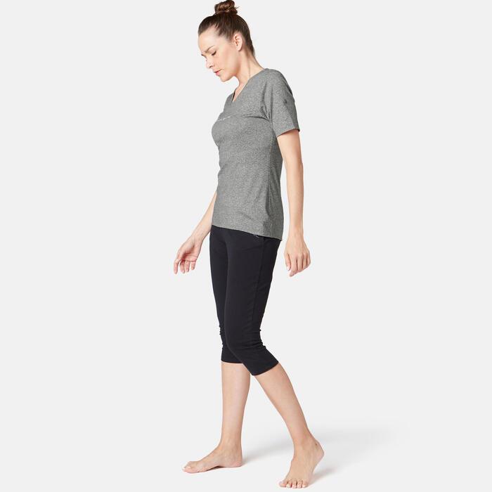 T-Shirt 510 Regular Pilates sanfte Gym Damen grau mit Print