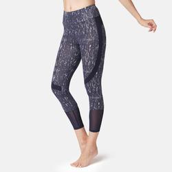 7/8-Leggings 520 Slim Pilates & sanfte Gymnastik Damen marineblau mit Print