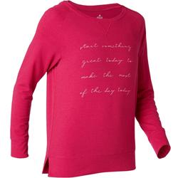 500 Women's Long-Sleeved Pilates & Gentle Gym T-Shirt - Red Print