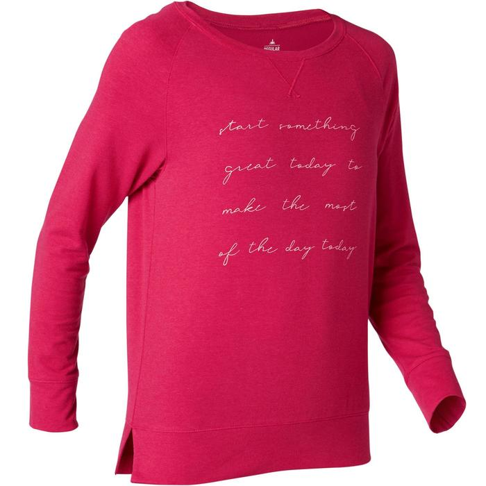 Damesshirt 500 met lange mouwen voor pilates/lichte gym rood met print