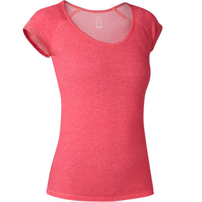 חולצת טריקו צמודה בדגם 500 לפילאטיס ולהתעמלות עדינה לנשים - ורוד מנומר