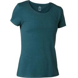 T-shirt500 régulier pilates et gym douce femme bleu pétrole