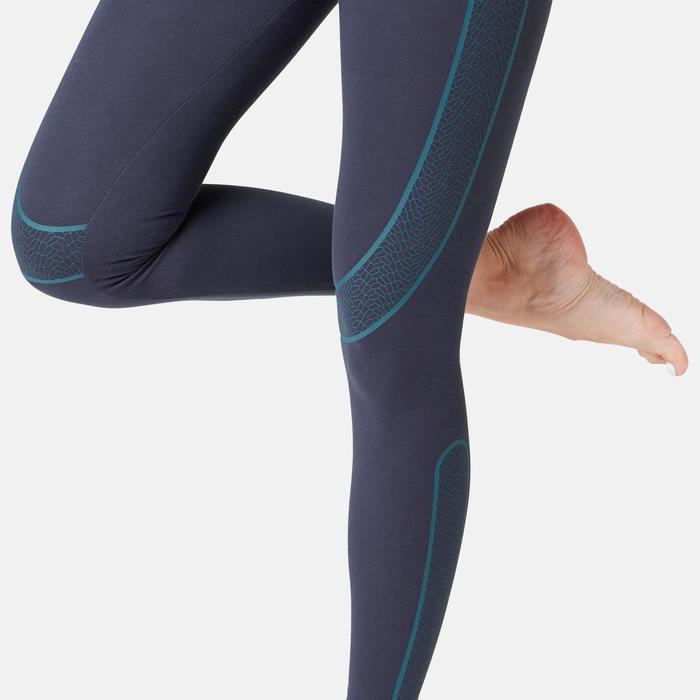 Dameslegging voor pilates/lichte gym 560 slim fit marineblauw