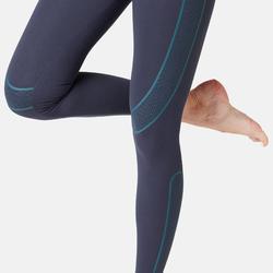 Legging court de sport femme 560 ventre plat et galbant Bleu Marine
