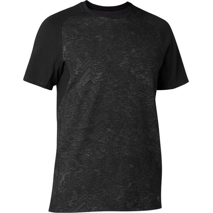 T-shirt 520 regular fit pilates en lichte gym heren donkergrijs met print