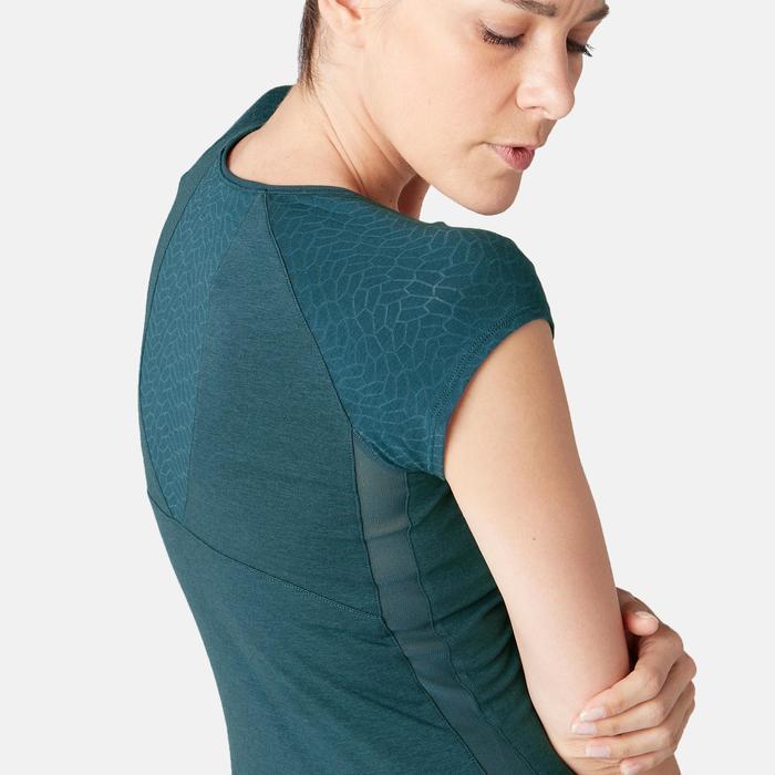 T-Shirt 530 Dévoré-Muster Pilates sanfte Gym Damen blaugrün