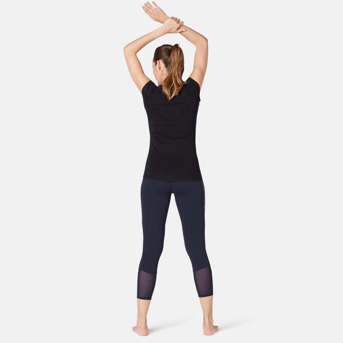 Legging court de sport taille haute 520 femme 7/8 en coton bleu marine