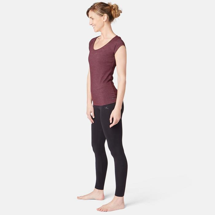T-Shirt 500 Slim Pilates sanfte Gym Damen bordeauxmeliert