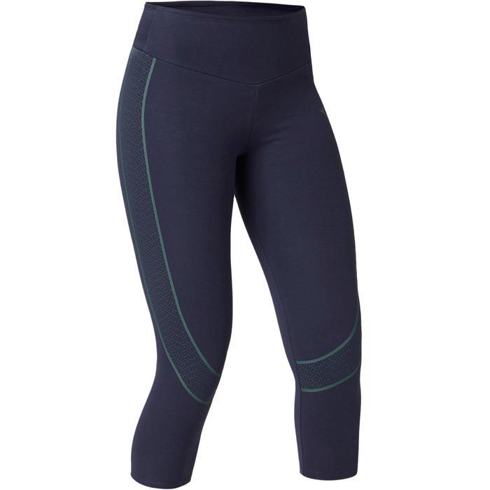 Legging 7/8 560 slim ventre plat et galbant Fitness femme bleu marine