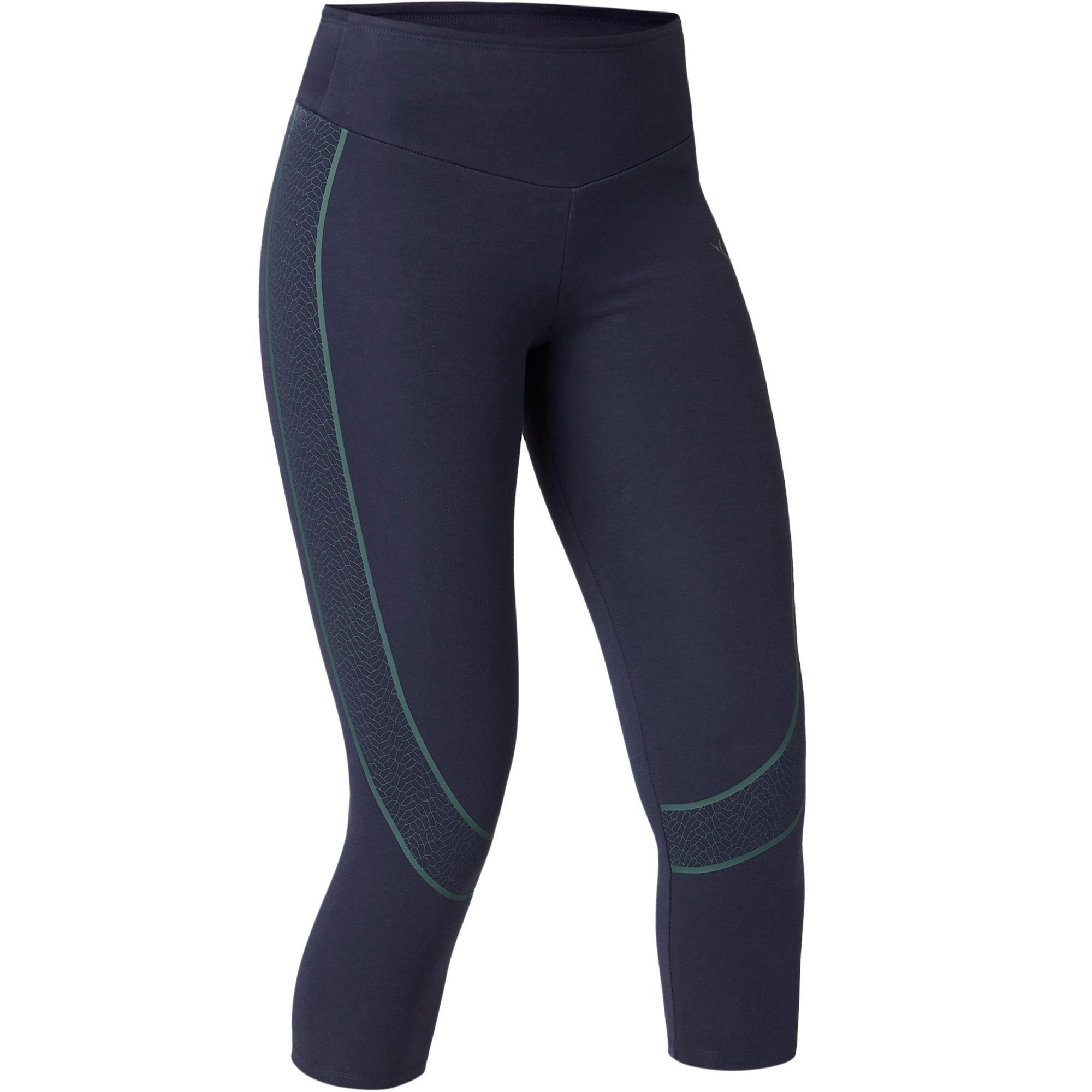Legging 78 galbant sport pilates gym douce femme slim bleu marine domyos