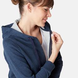 Dames hoodie met rits voor pilates en lichte gym 520 marineblauw