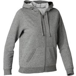 Dames hoodie met rits voor pilates en lichte gym 520 grijs