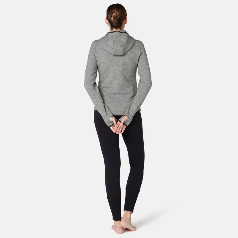 Kapuzenjacke Pilates Damen Gymamp; Damenbekleidung 900 Grau UpMVSzqG