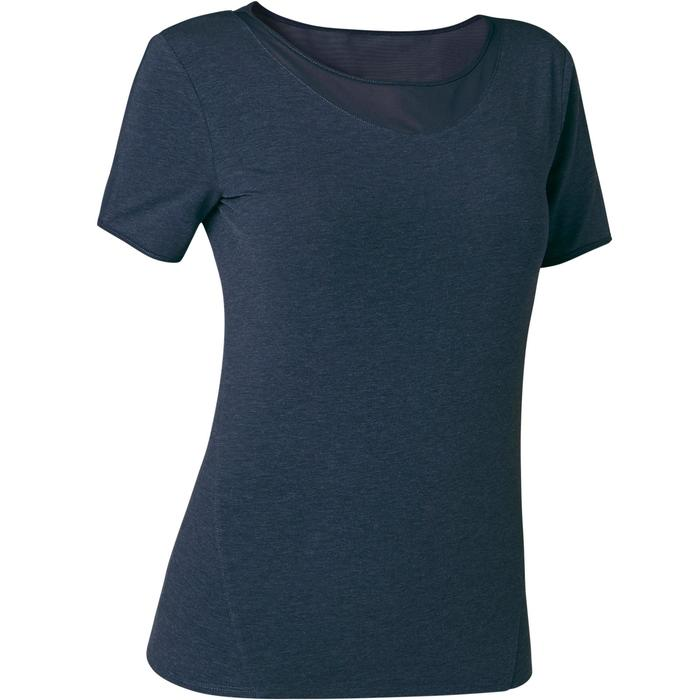 T-Shirt 520 tulle Pilates Gym douce femme bleu marine chiné