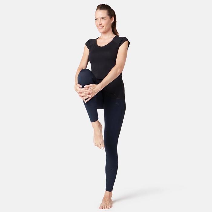 Leggings 520 Slim Gym & Pilates Damen marineblau mit Print