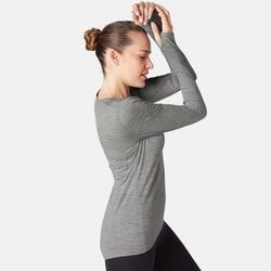 Merino shirt met lange mouwen voor pilates en lichte gym dames gemêleerd grijs