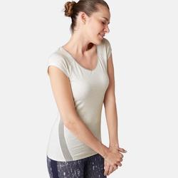 Dames T-shirt voor pilates en lichte gym 530 ausbrenner gemêleerd wit