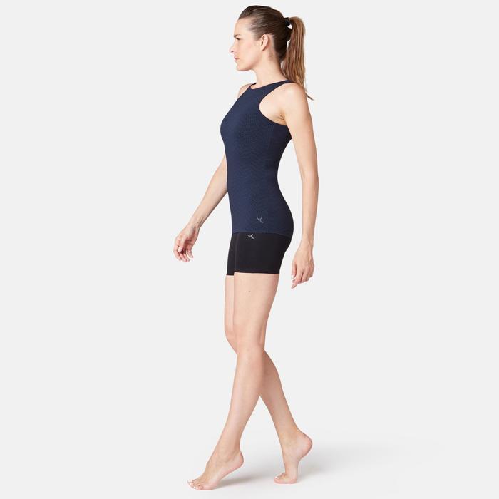 Camiseta Sin Mangas Tirantes Gimnasia Pilates Domyos560 Mujer Azul Top Integrado