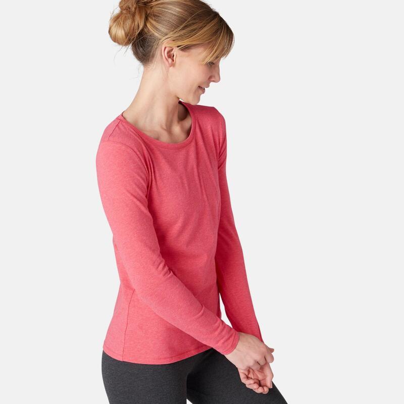 Shirt voor fitness lange mouwen katoen gemêleerd roze