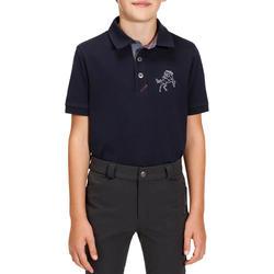 Jongenspolo Horse met korte mouwen ruitersport - 170076