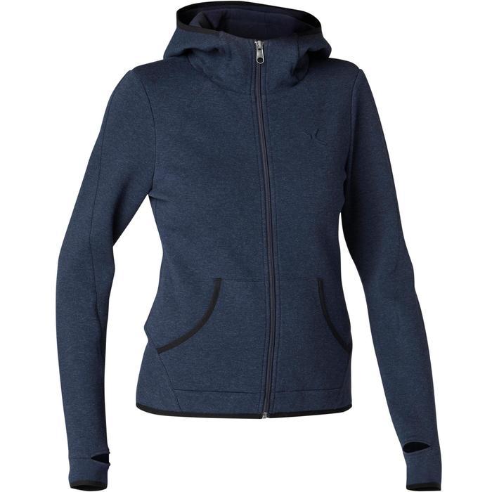 女款溫和健身與皮拉提斯Spacer連帽外套900 - 軍藍色