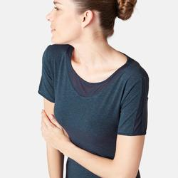 520 Tulle Women's Pilates & Gentle Gym T-Shirt - Heathered Navy Blue