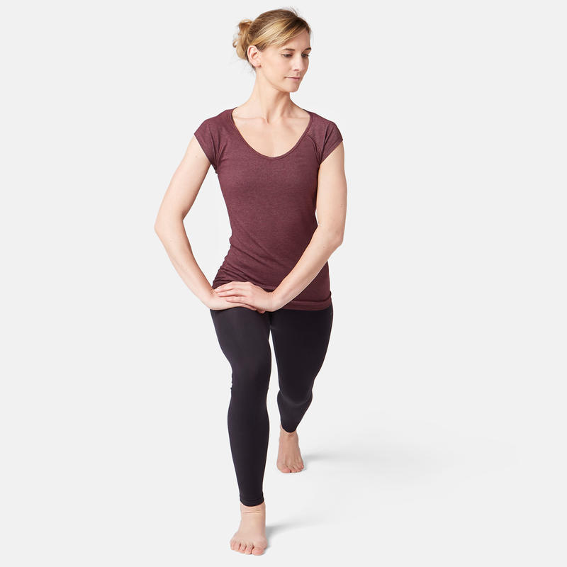 500 Women's Slim-Fit Gentle Gym & Pilates T-Shirt - Mottled Burgundy