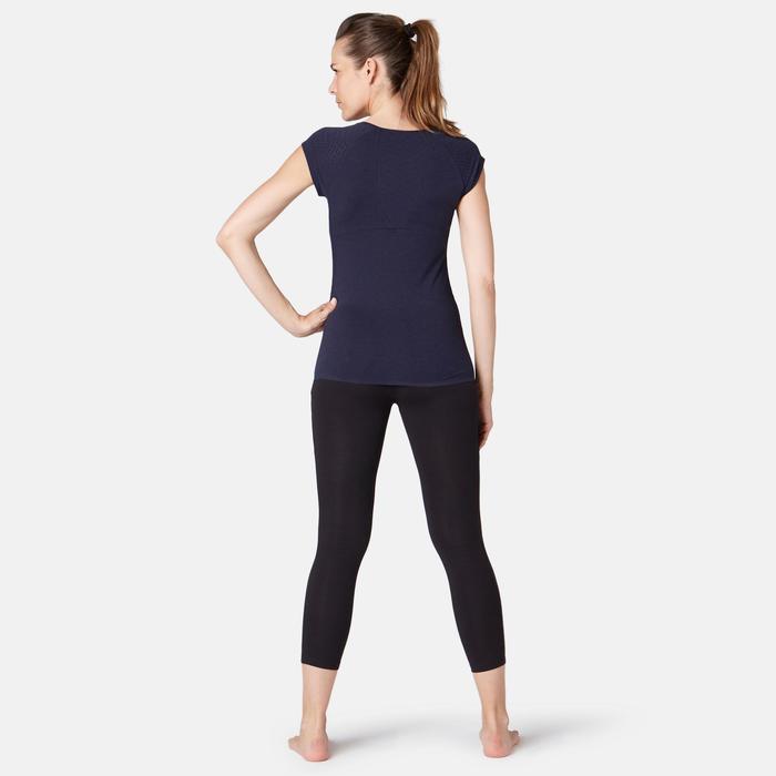 Camiseta Manga Corta Gimnasia Pilates Domyos Devoré 530 Mujer Azul