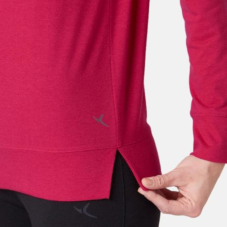 beeb86ff 500 Women's Long-Sleeved Pilates & Gentle Gym T-Shirt - Red Print.  Previous. Next