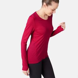 Damesshirt in merinowol voor pilates en lichte gym 510 rood