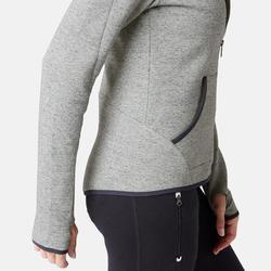 Dames hoodie met rits voor pilates en lichte gym 900 spacer grijs