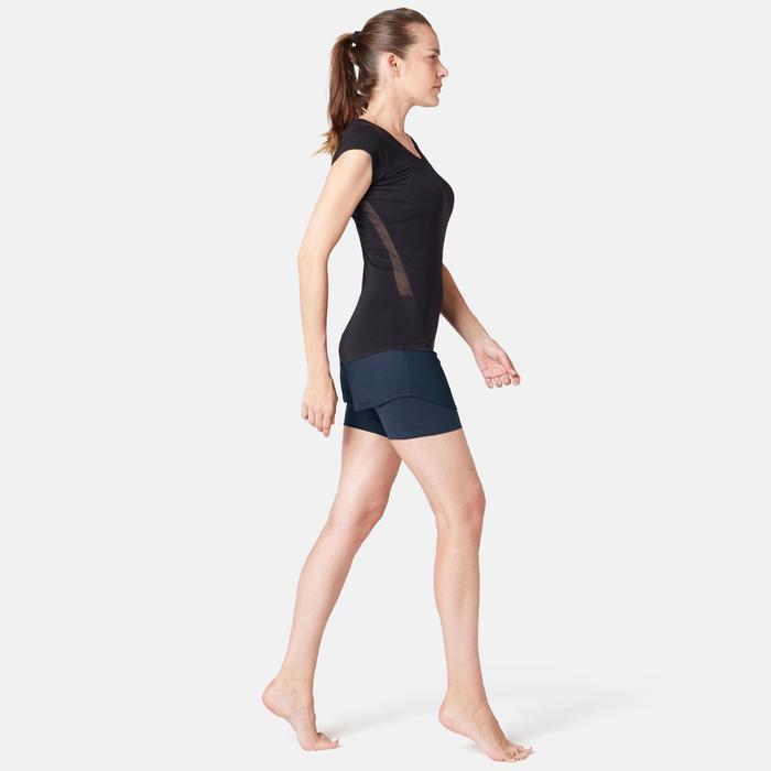 Shorts 2-in-1 aus dehnbarer Baumwolle Fitness marineblau