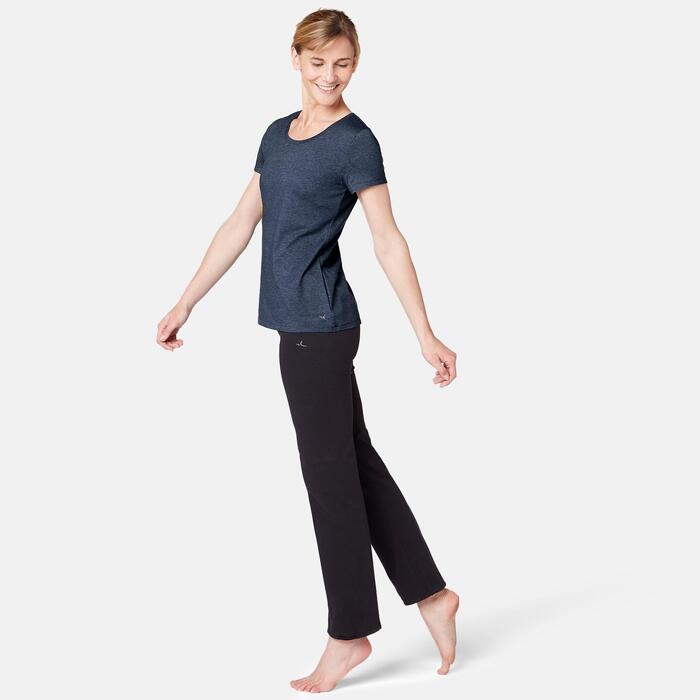 Dames T-shirt voor pilates en lichte gym 500 regular fit donkerblauw
