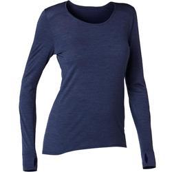 T-Shirt 510 manches longues laine merinos Pilates Gym douce femme bleu marine
