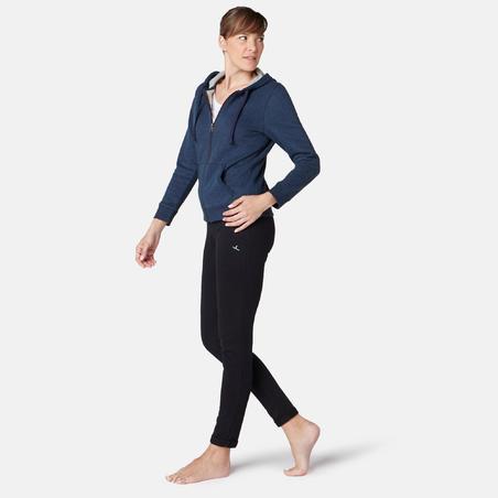 Veste 520capuchon pilates et gym douce femme bleu marine