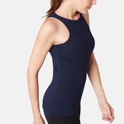 女款修身剪裁皮拉提斯與溫和健身內置罩杯運動背心900 - 藍色