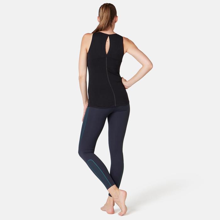 Fitnesslegging dames 560 slim fit platte buik modellerend marineblauw