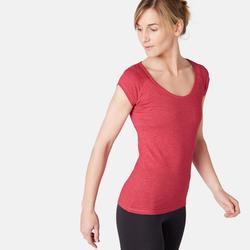 T-Shirt 500 slim Pilates Gym douce femme rose chiné