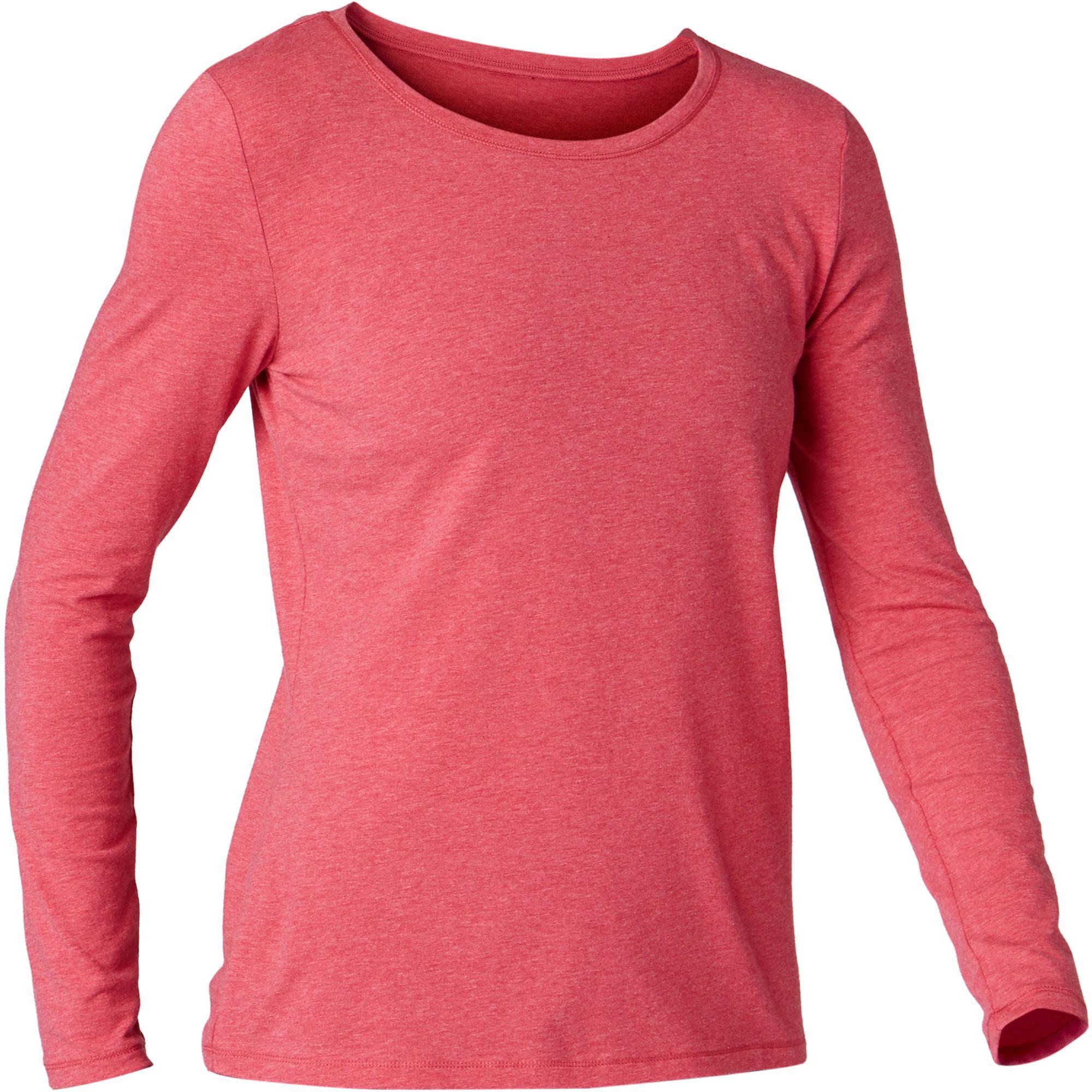8af594ec83d2 100 Women's Long-Sleeved Gentle Gym & Pilates T-Shirt - Dark Mottled Pink |  Domyos by Decathlon